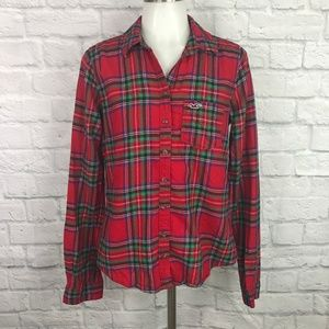 Hollister Large Flannel Shirt Plaid Red Green Blue